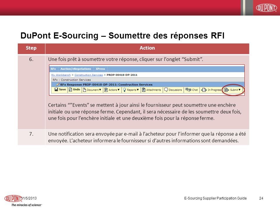DuPont E-Sourcing – Soumettre des réponses RFI