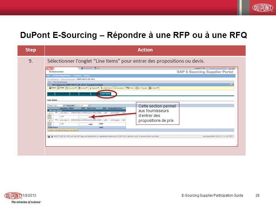 DuPont E-Sourcing – Répondre à une RFP ou à une RFQ