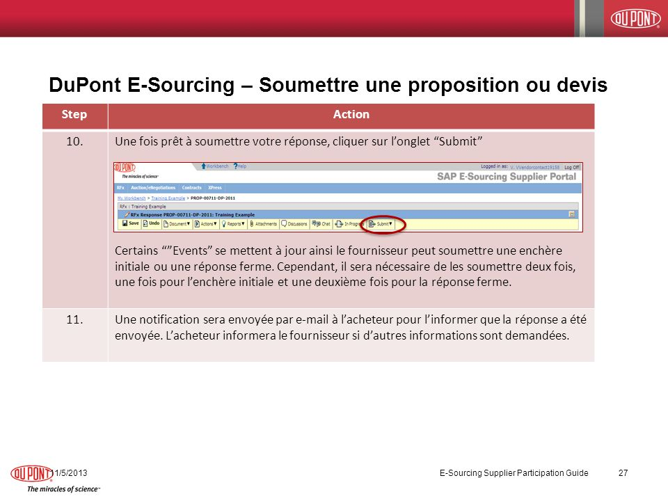 DuPont E-Sourcing – Soumettre une proposition ou devis