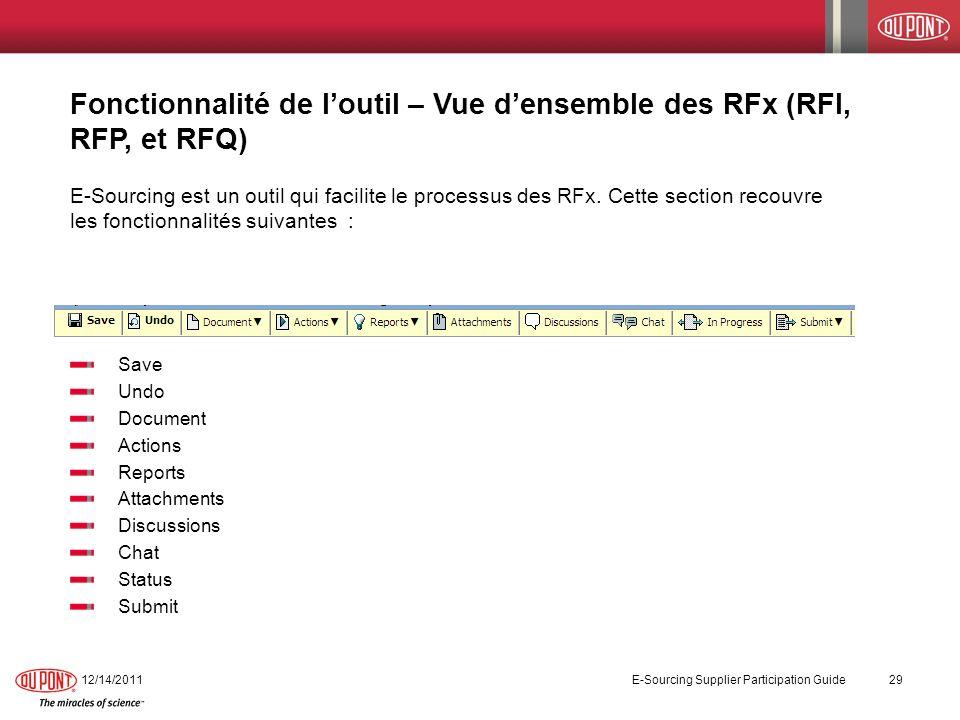 Fonctionnalité de l'outil – Vue d'ensemble des RFx (RFI, RFP, et RFQ)