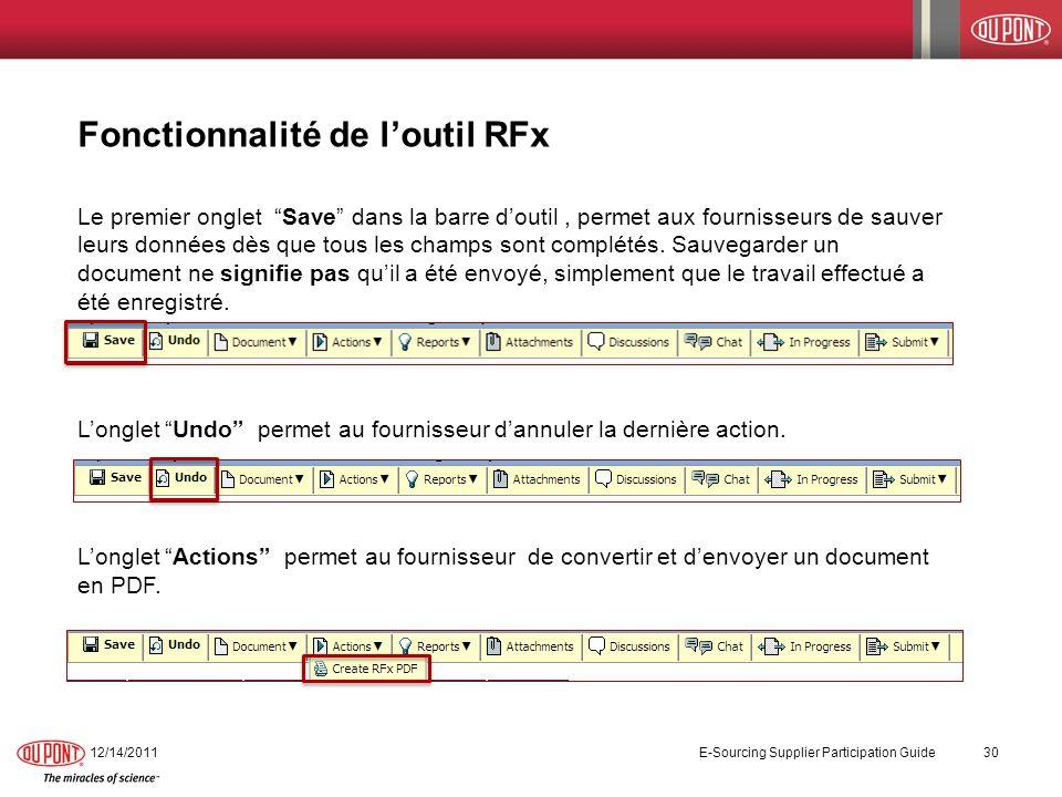 Fonctionnalité de l'outil RFx