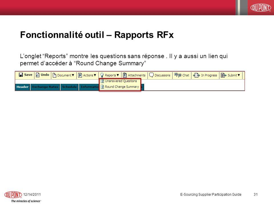 Fonctionnalité outil – Rapports RFx