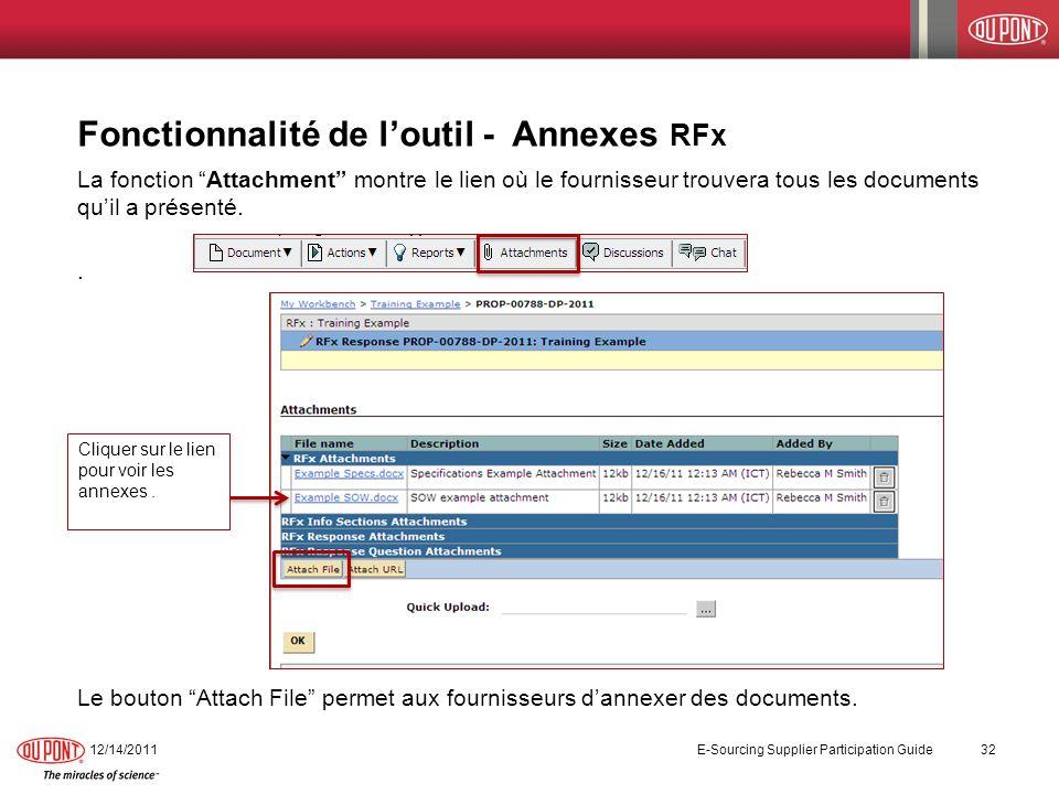 Fonctionnalité de l'outil - Annexes RFx