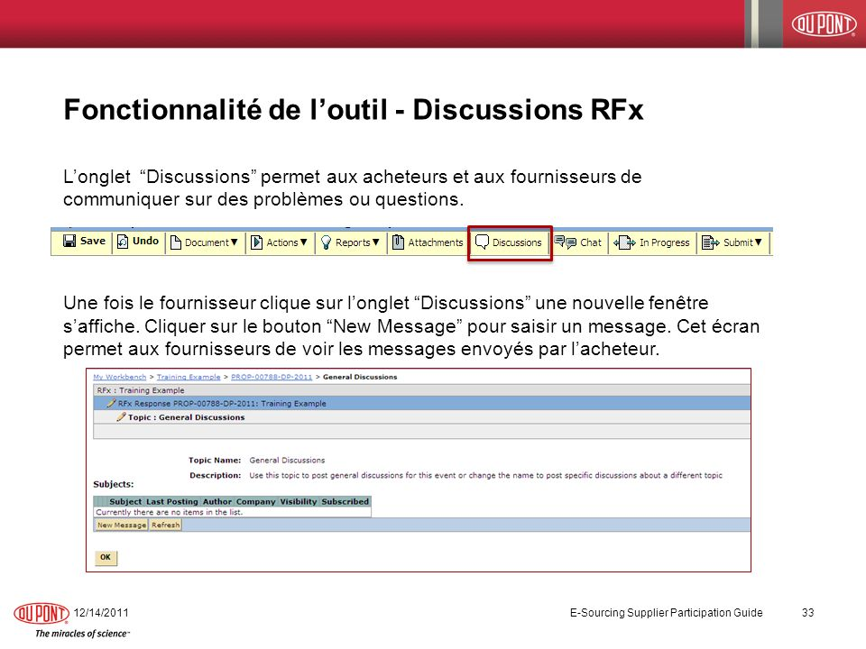 Fonctionnalité de l'outil - Discussions RFx