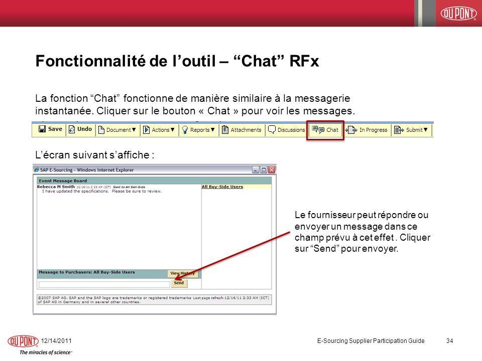 Fonctionnalité de l'outil – Chat RFx
