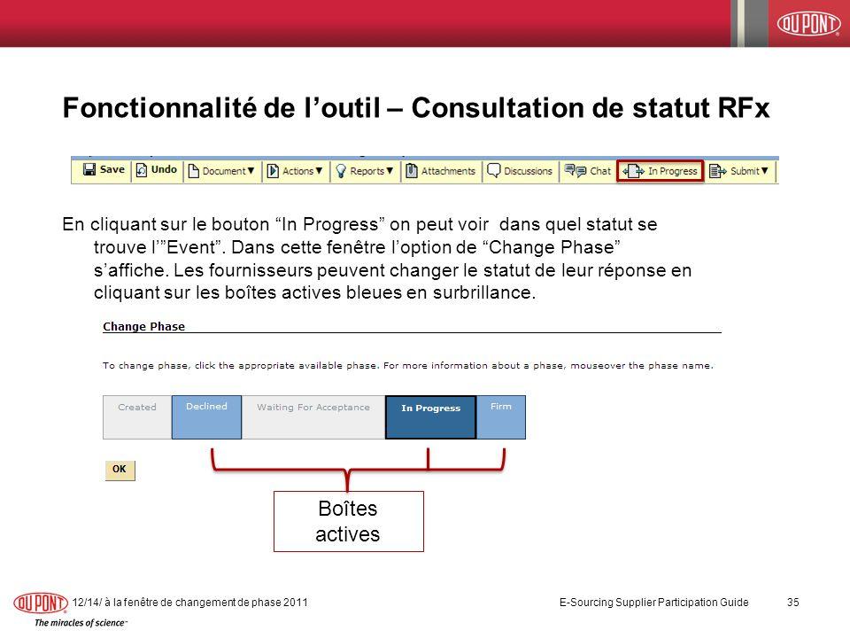 Fonctionnalité de l'outil – Consultation de statut RFx