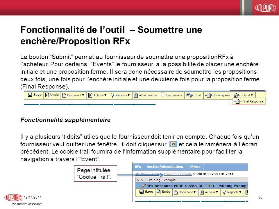 Fonctionnalité de l'outil – Soumettre une enchère/Proposition RFx
