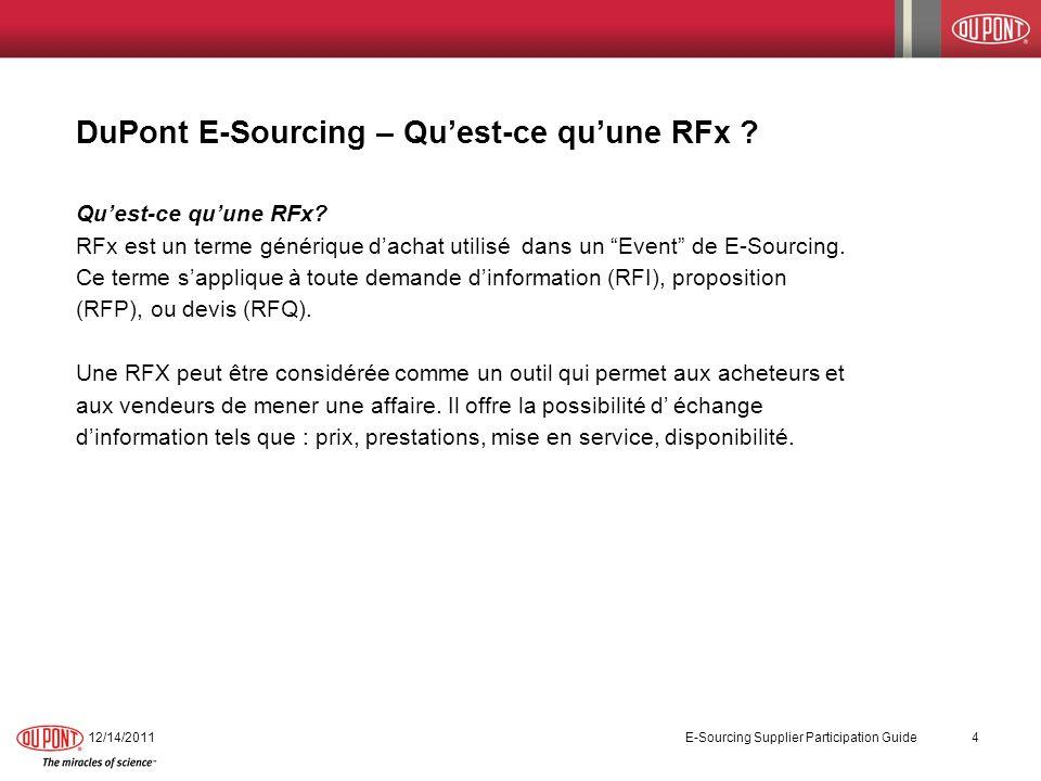 DuPont E-Sourcing – Qu'est-ce qu'une RFx