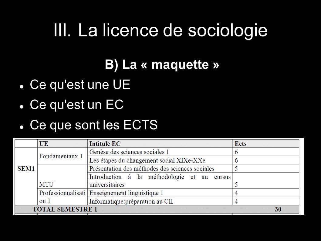 III. La licence de sociologie
