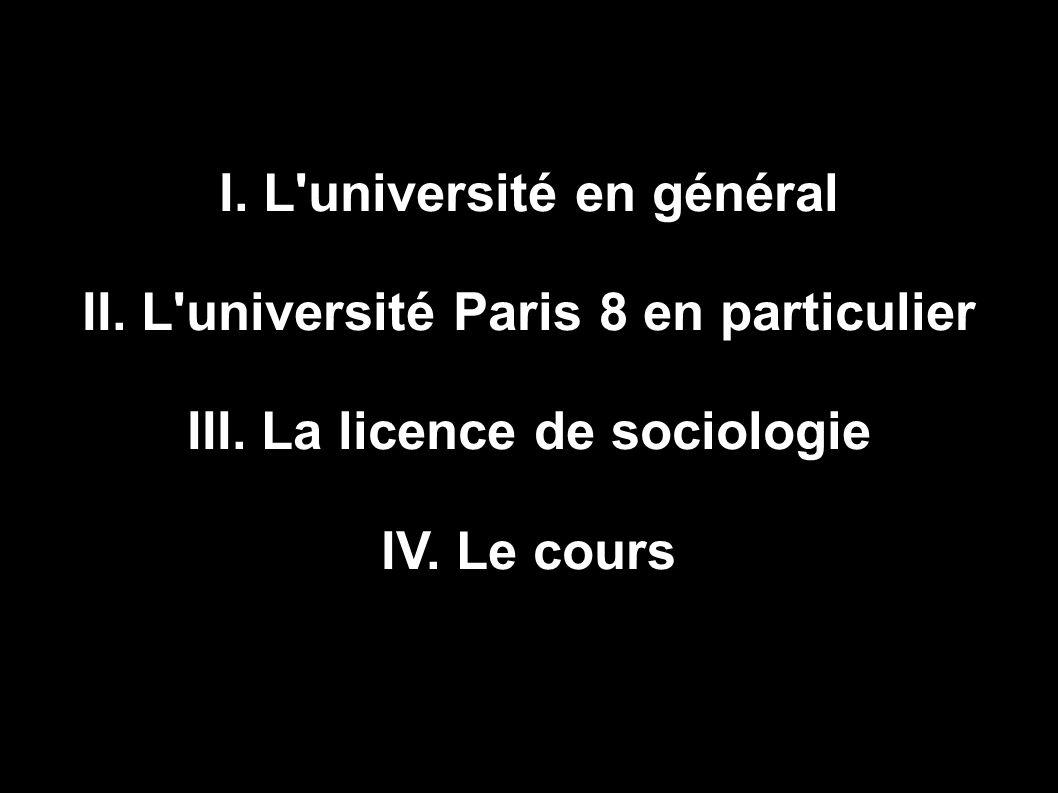 I. L université en général II. L université Paris 8 en particulier