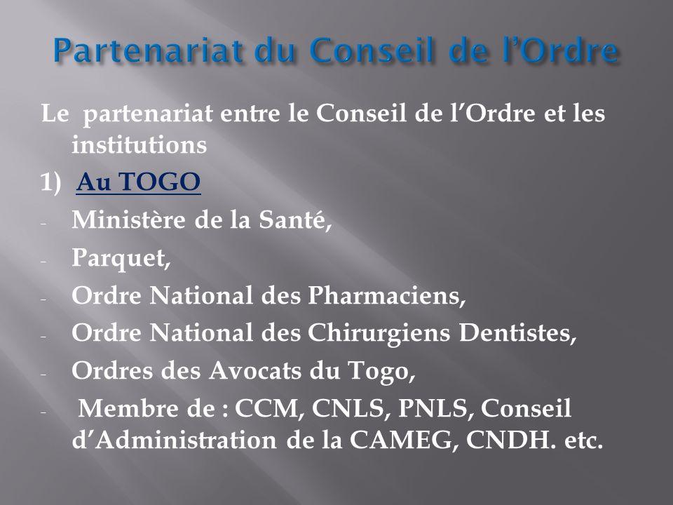 Partenariat du Conseil de l'Ordre