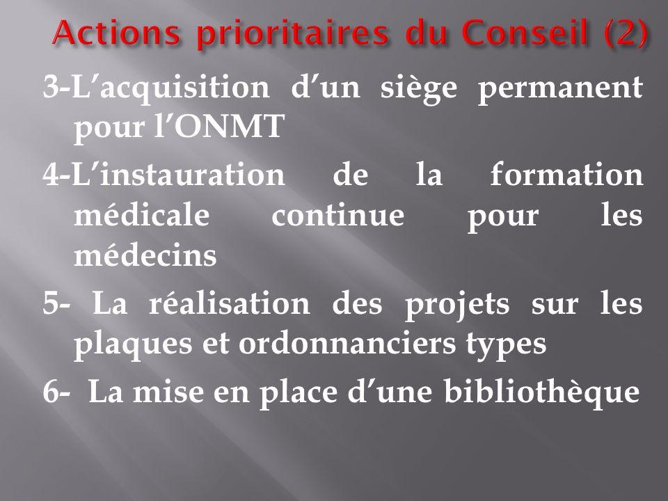 Actions prioritaires du Conseil (2)