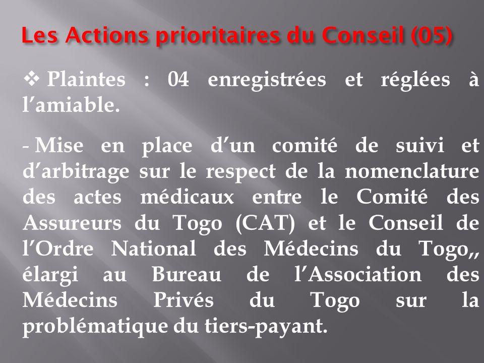 Les Actions prioritaires du Conseil (05)