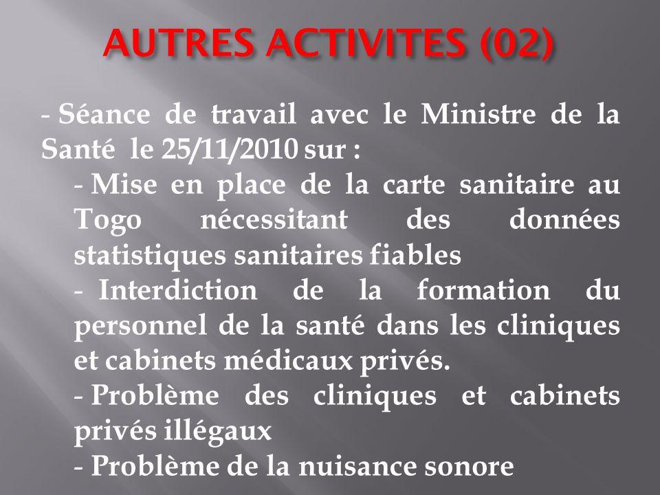 AUTRES ACTIVITES (02) Séance de travail avec le Ministre de la Santé le 25/11/2010 sur :