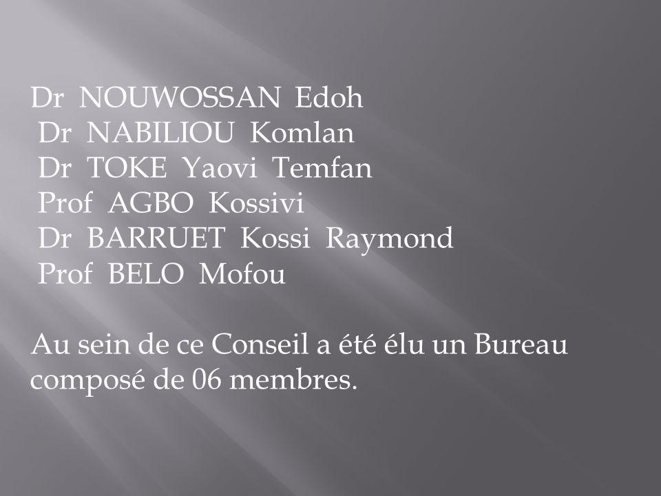Dr NOUWOSSAN Edoh Dr NABILIOU Komlan. Dr TOKE Yaovi Temfan. Prof AGBO Kossivi. Dr BARRUET Kossi Raymond.