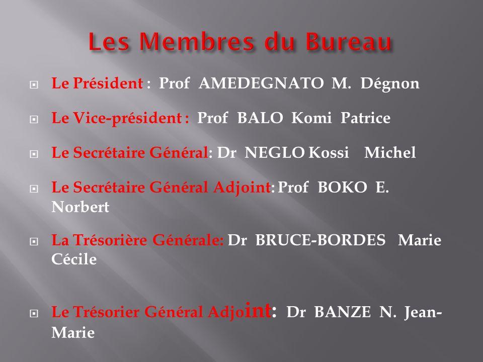 Les Membres du Bureau Le Président : Prof AMEDEGNATO M. Dégnon