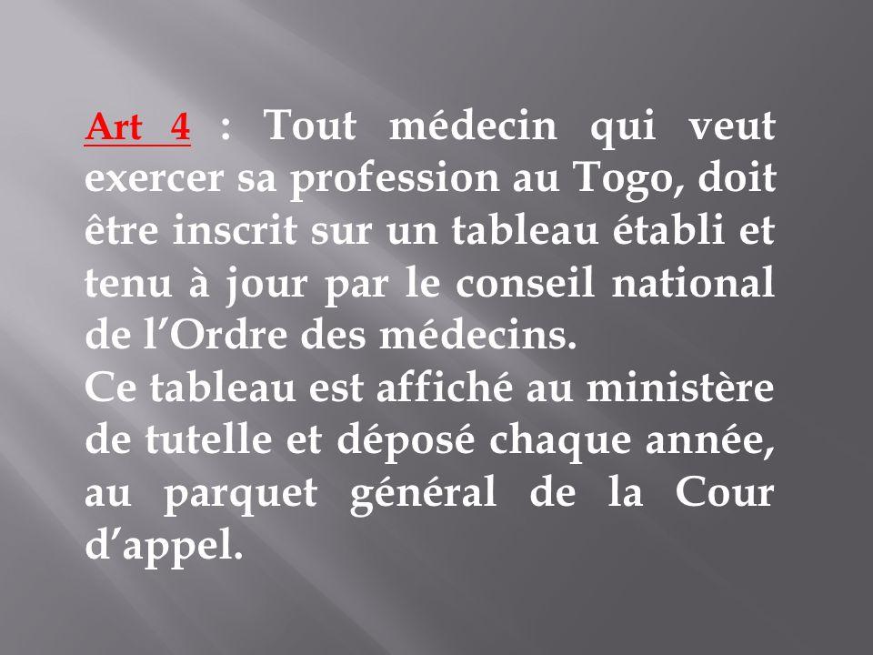 Art 4 : Tout médecin qui veut exercer sa profession au Togo, doit être inscrit sur un tableau établi et tenu à jour par le conseil national de l'Ordre des médecins.