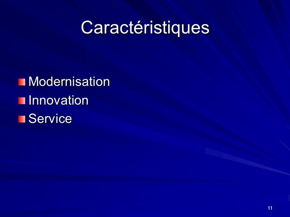 Caractéristiques Modernisation Innovation Service