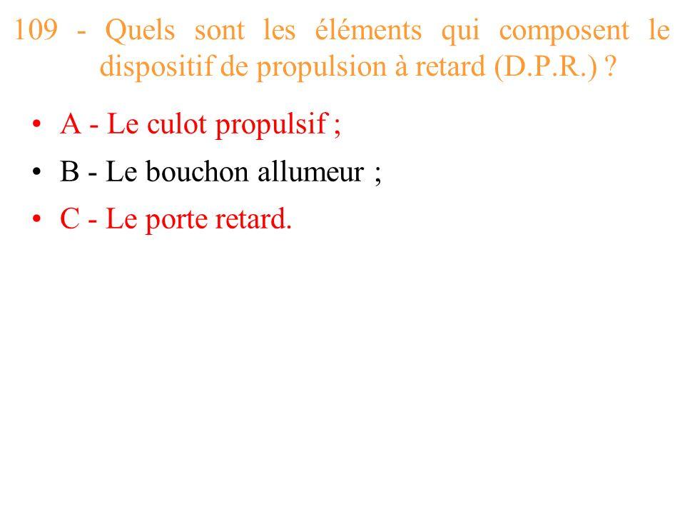 109 - Quels sont les éléments qui composent le dispositif de propulsion à retard (D.P.R.)