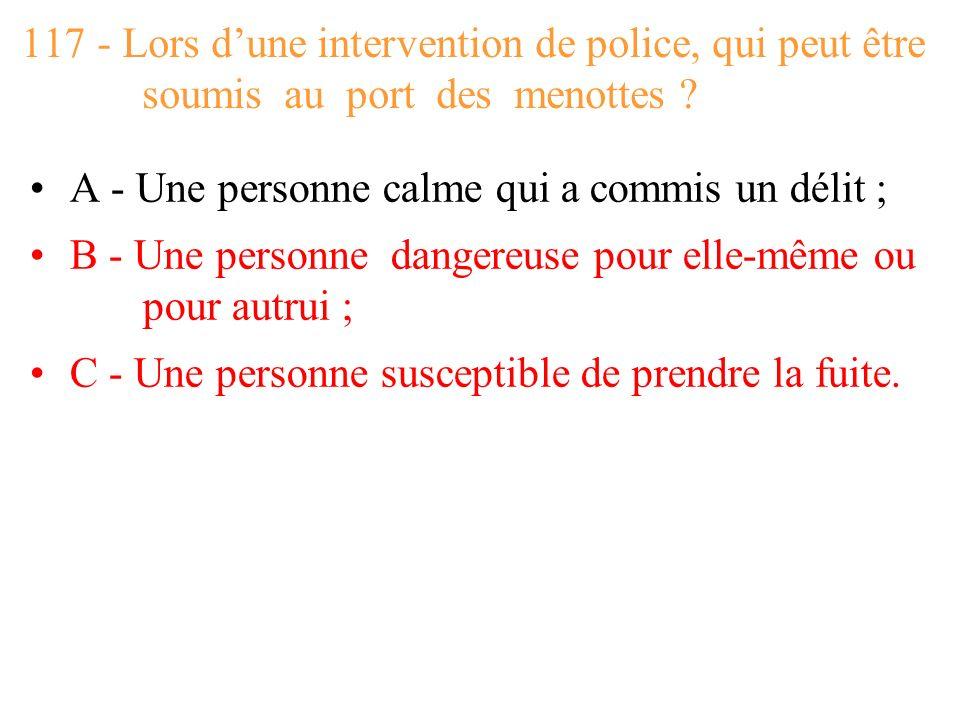 117 - Lors d'une intervention de police, qui peut être soumis au port des menottes