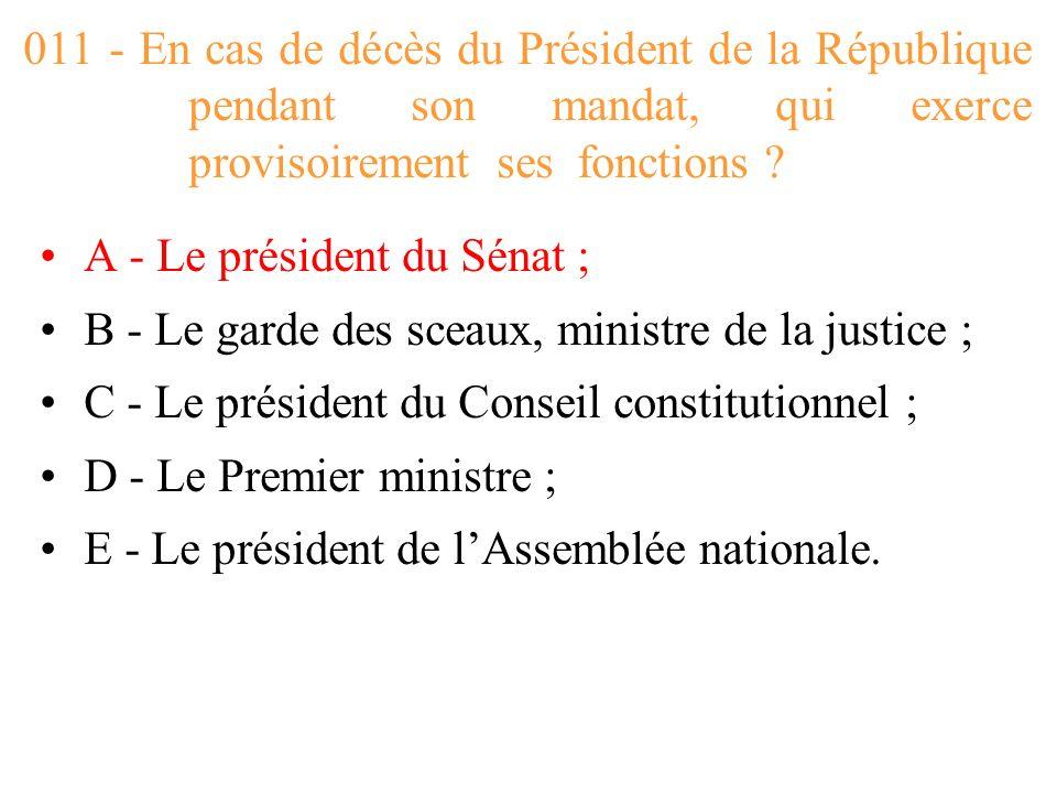 011 - En cas de décès du Président de la République pendant son mandat, qui exerce provisoirement ses fonctions