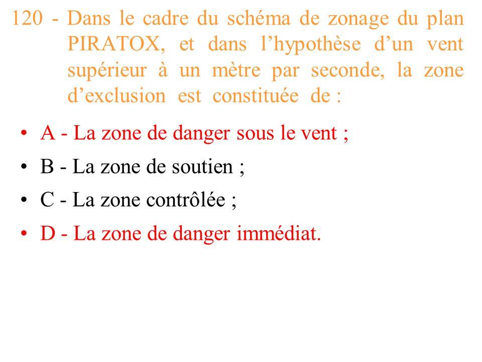 120 - Dans le cadre du schéma de zonage du plan PIRATOX, et dans l'hypothèse d'un vent supérieur à un mètre par seconde, la zone d'exclusion est constituée de :