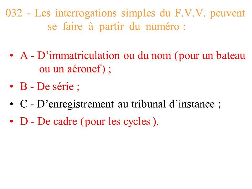 032 - Les interrogations simples du F. V. V