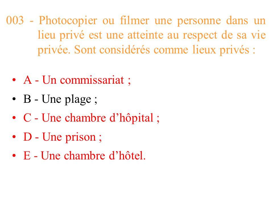 003 - Photocopier ou filmer une personne dans un lieu privé est une atteinte au respect de sa vie privée. Sont considérés comme lieux privés :