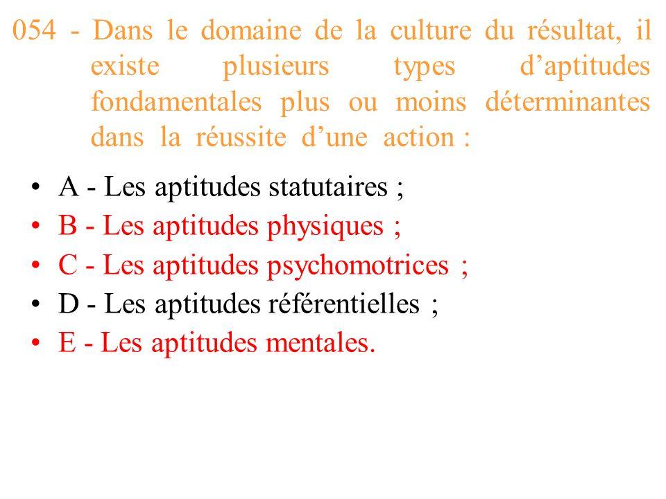 054 - Dans le domaine de la culture du résultat, il existe plusieurs types d'aptitudes fondamentales plus ou moins déterminantes dans la réussite d'une action :