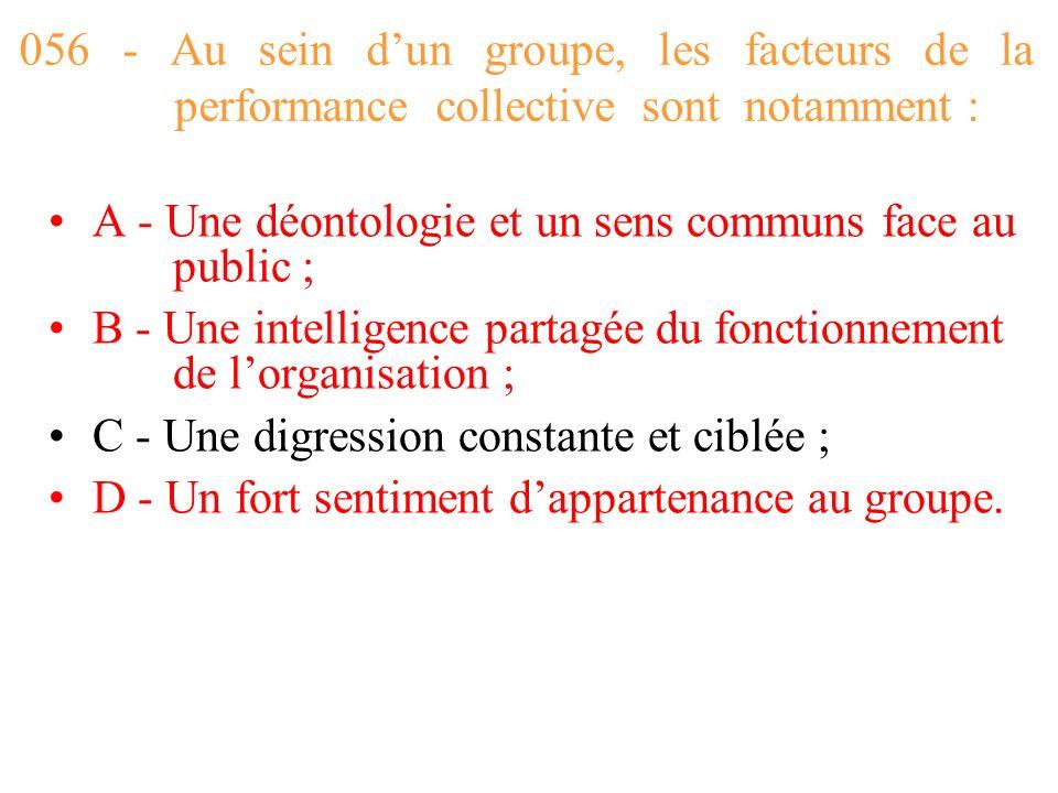 056 - Au sein d'un groupe, les facteurs de la performance collective sont notamment :