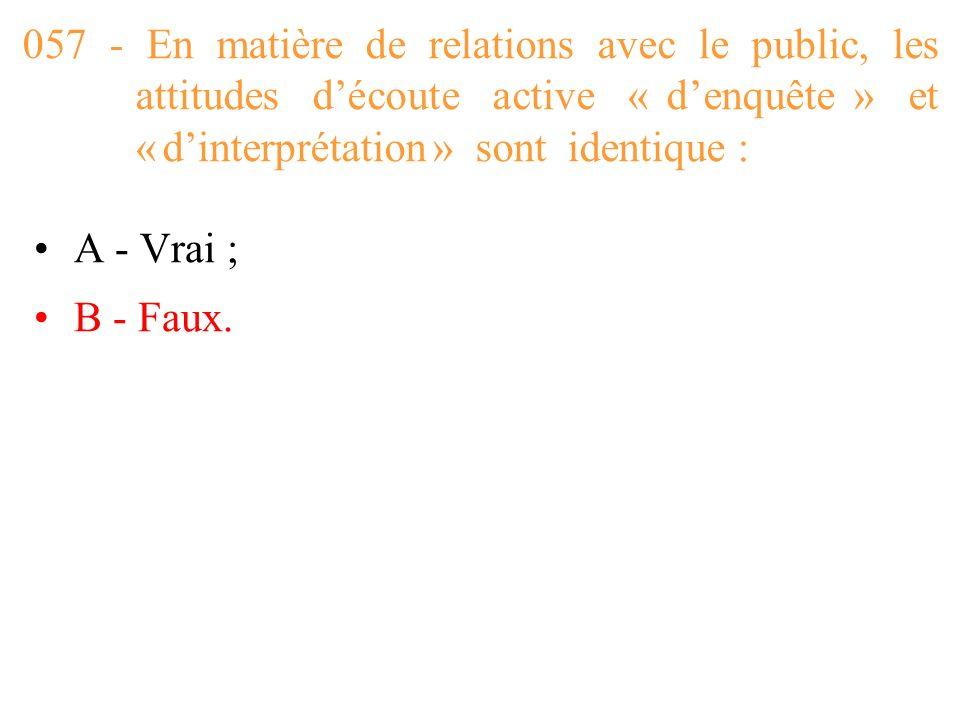 057 - En matière de relations avec le public, les attitudes d'écoute active « d'enquête » et « d'interprétation » sont identique :