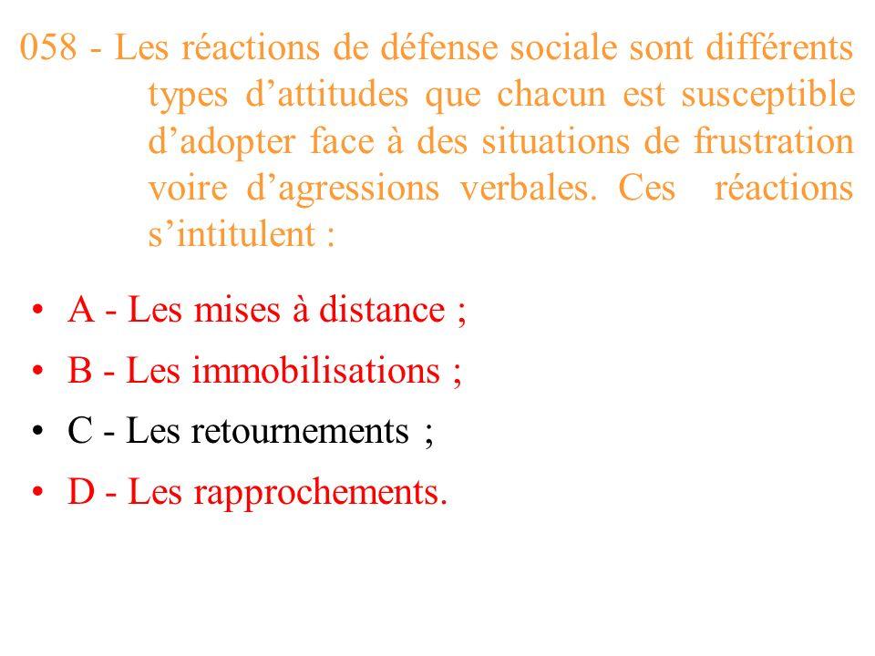 058 - Les réactions de défense sociale sont différents types d'attitudes que chacun est susceptible d'adopter face à des situations de frustration voire d'agressions verbales. Ces réactions s'intitulent :