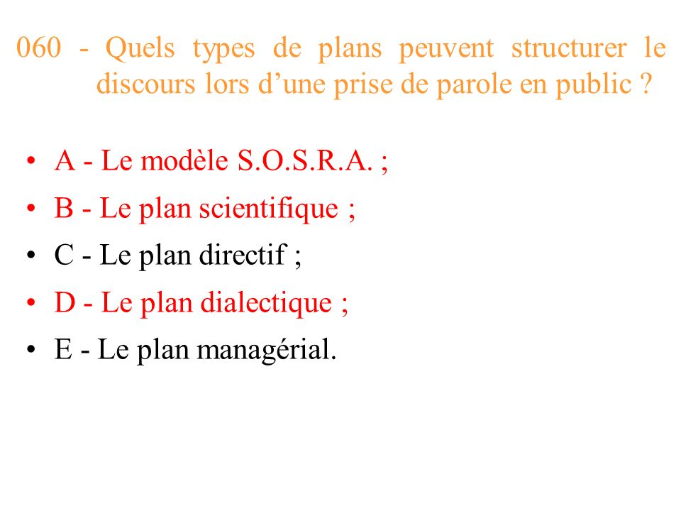 060 - Quels types de plans peuvent structurer le discours lors d'une prise de parole en public