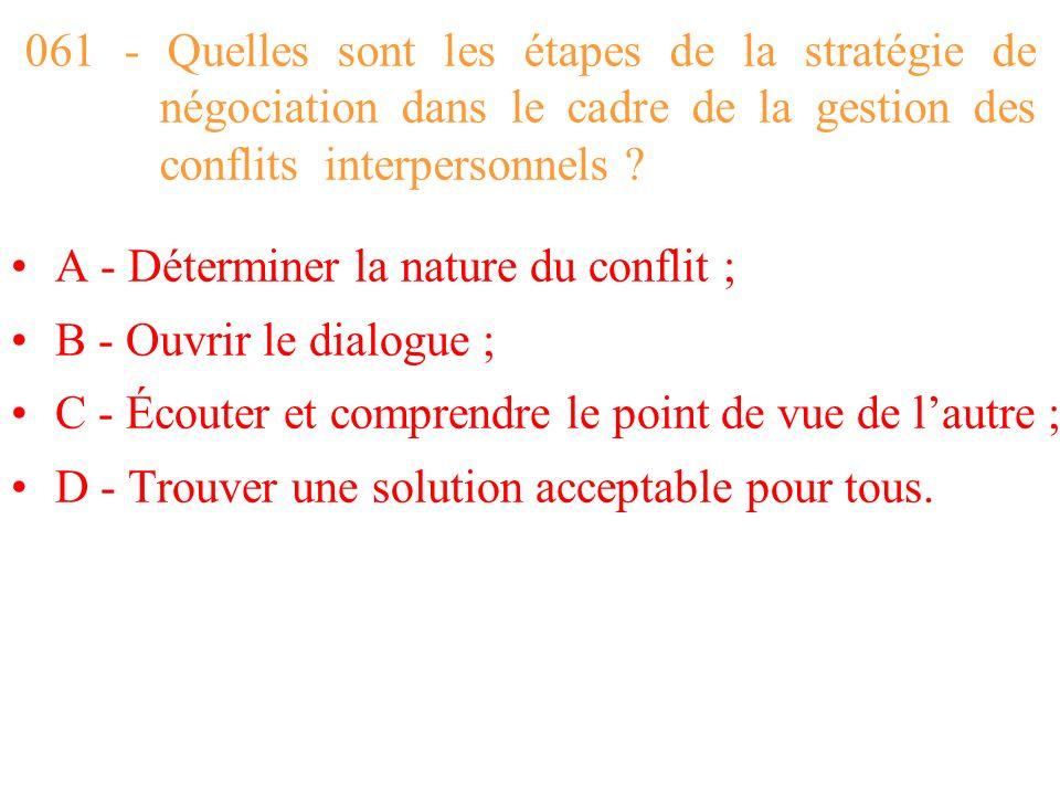 061 - Quelles sont les étapes de la stratégie de négociation dans le cadre de la gestion des conflits interpersonnels