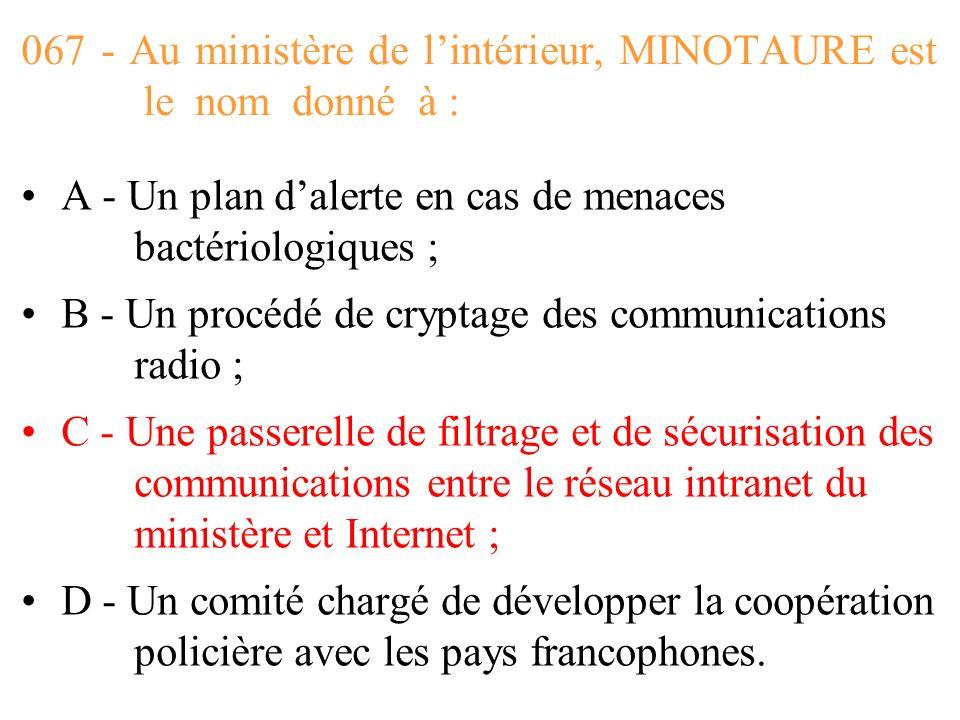 067 - Au ministère de l'intérieur, MINOTAURE est le nom donné à :