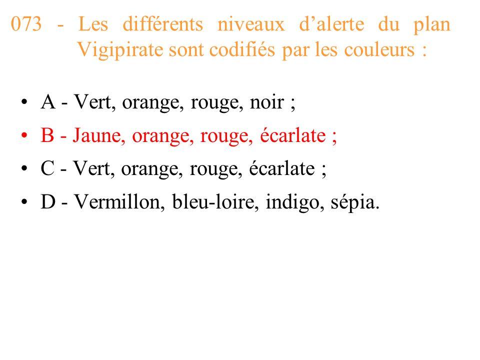 073 - Les différents niveaux d'alerte du plan Vigipirate sont codifiés par les couleurs :