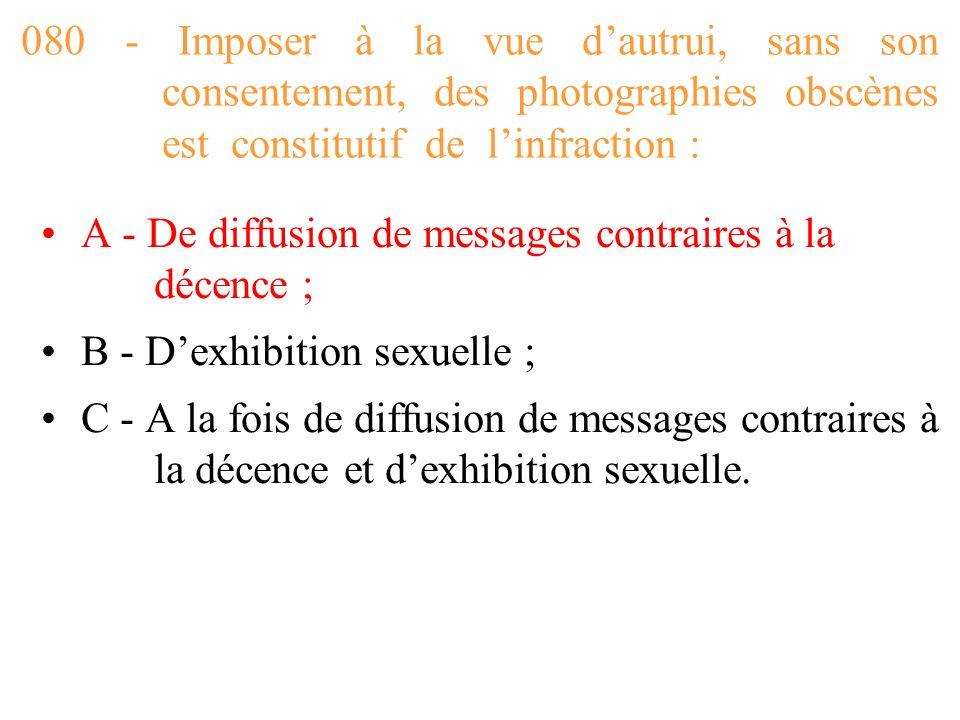 080 - Imposer à la vue d'autrui, sans son consentement, des photographies obscènes est constitutif de l'infraction :