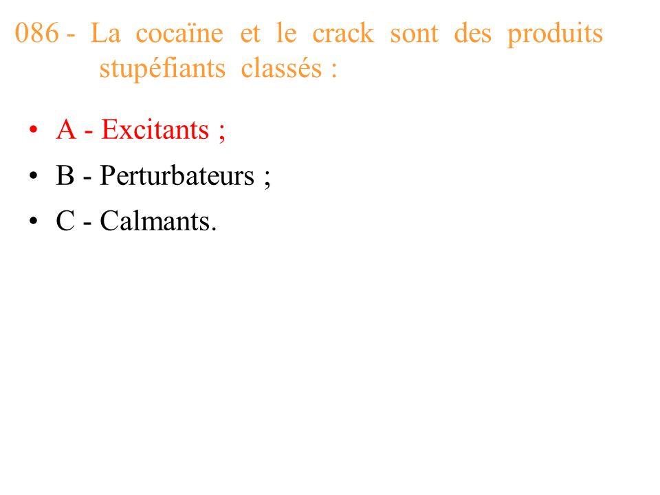 086 - La cocaïne et le crack sont des produits stupéfiants classés :