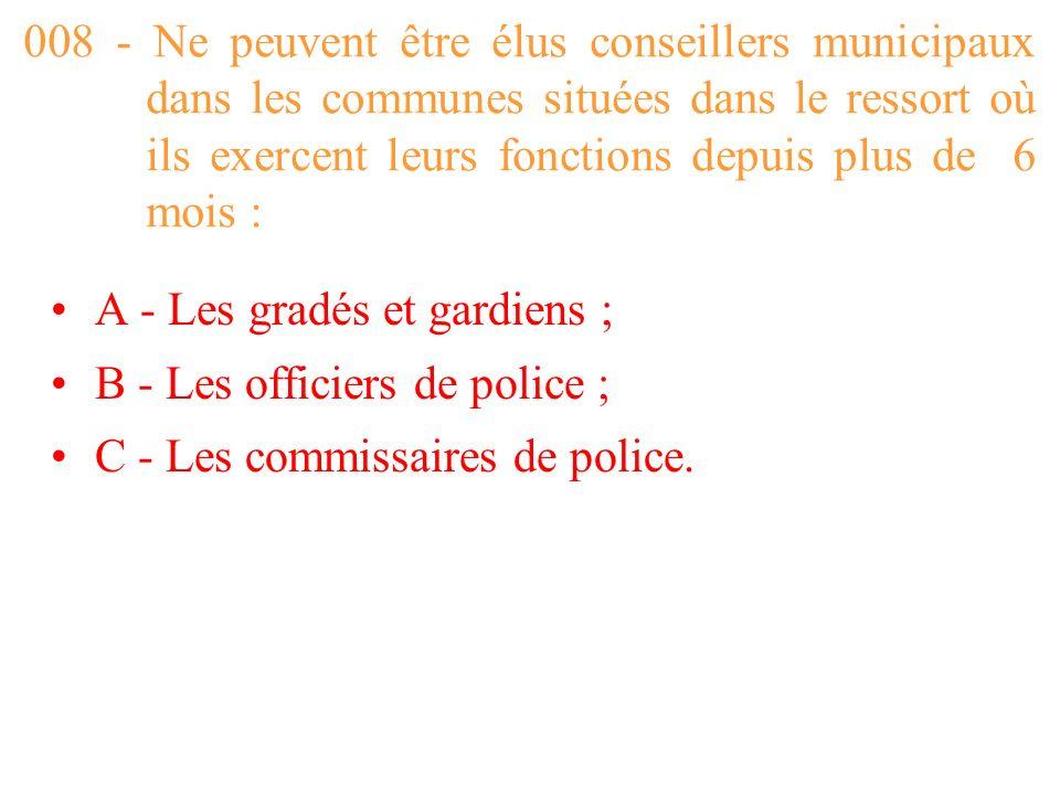 008 - Ne peuvent être élus conseillers municipaux dans les communes situées dans le ressort où ils exercent leurs fonctions depuis plus de 6 mois :