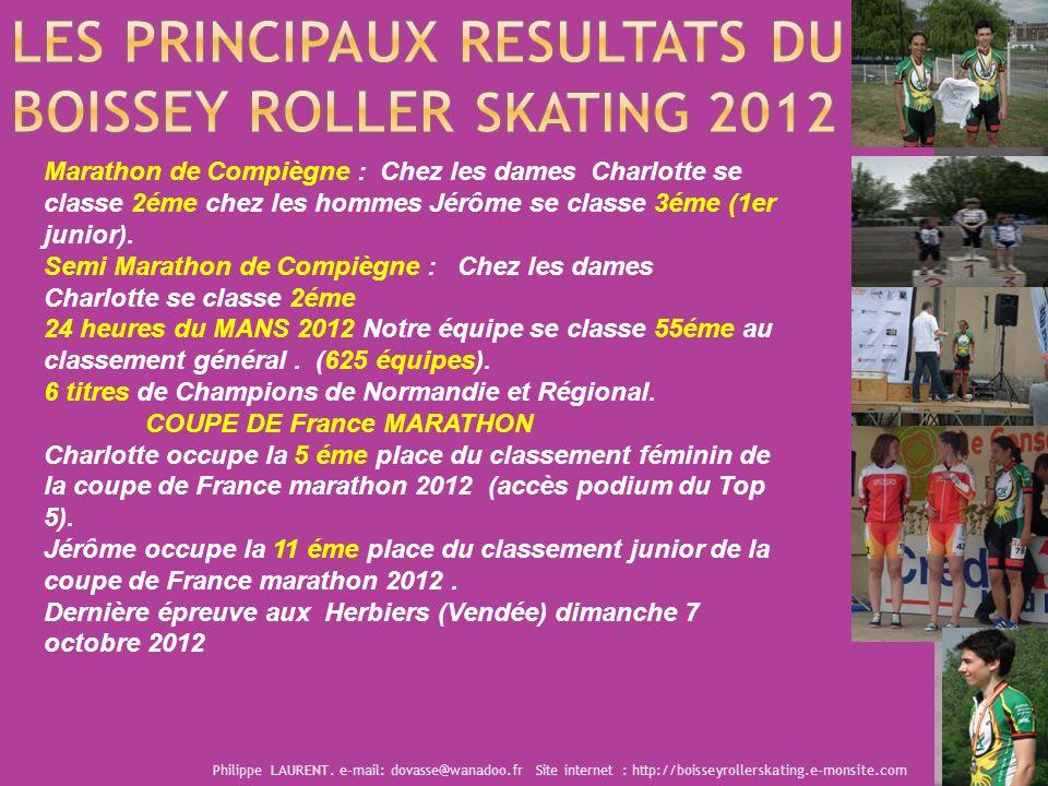 Les PRINCIPAUX resultats du BOISSEY ROLLER SKATING 2012