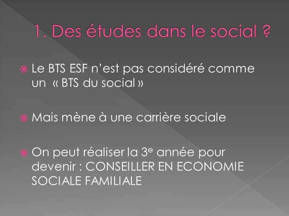 1. Des études dans le social