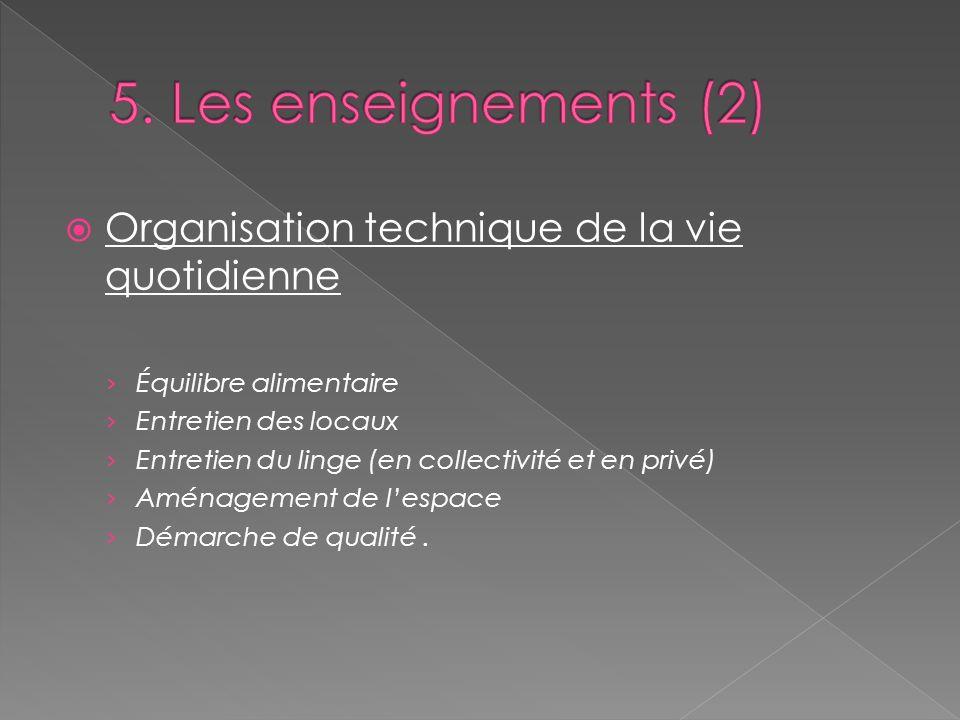 5. Les enseignements (2) Organisation technique de la vie quotidienne