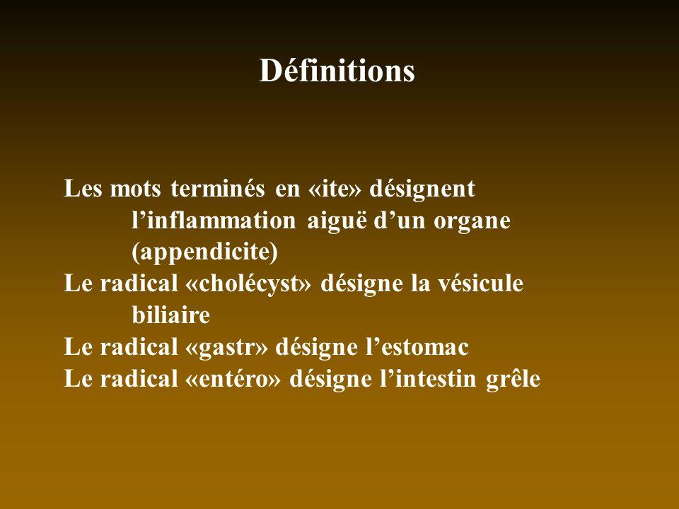 Définitions Les mots terminés en «ite» désignent l'inflammation aiguë d'un organe (appendicite)