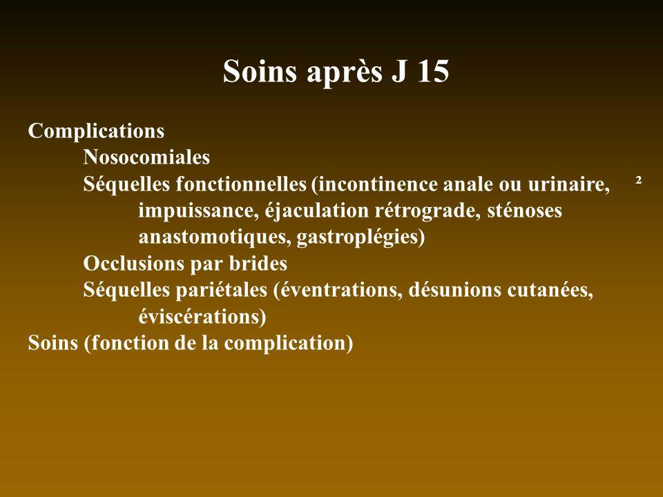 Soins après J 15 Complications Nosocomiales