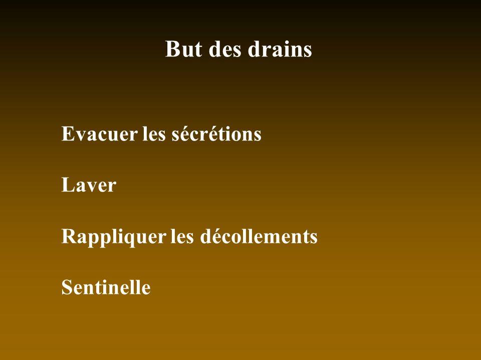 But des drains Evacuer les sécrétions Laver