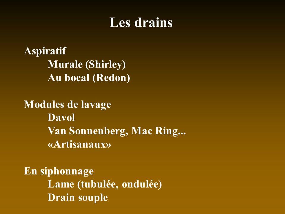 Les drains Aspiratif Murale (Shirley) Au bocal (Redon)