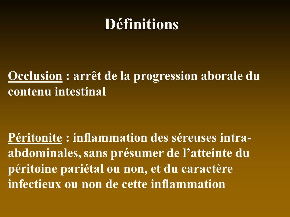 Définitions Occlusion : arrêt de la progression aborale du contenu intestinal.