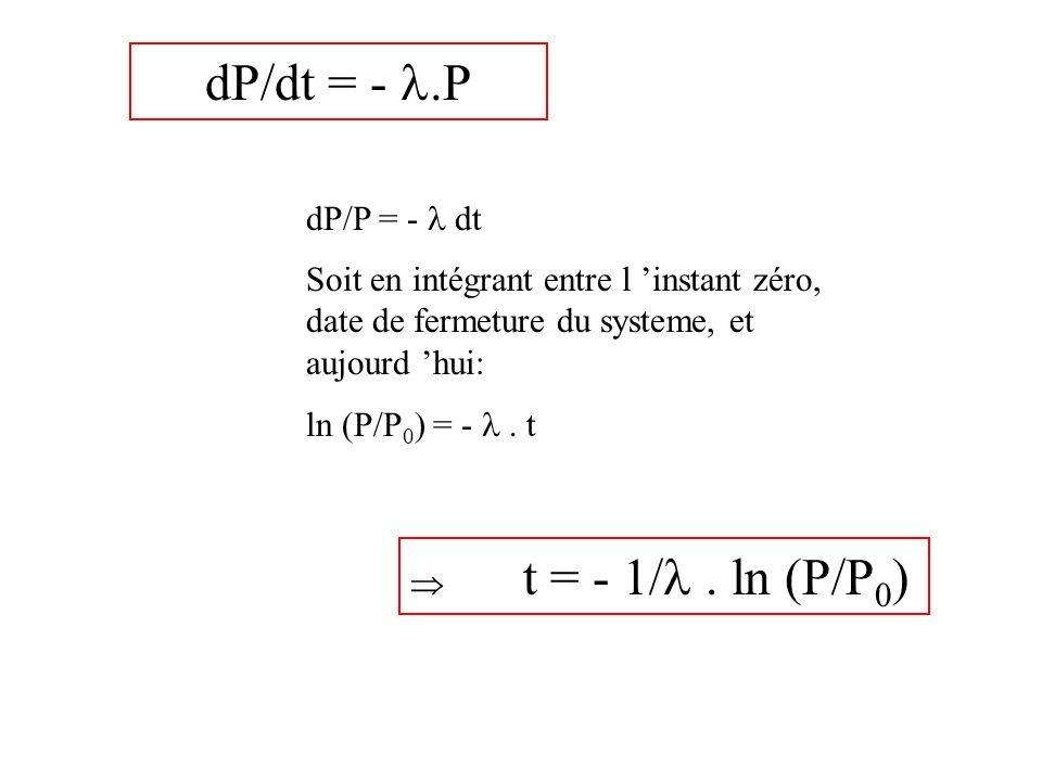 dP/dt = - .P dP/P = -  dt. Soit en intégrant entre l 'instant zéro, date de fermeture du systeme, et aujourd 'hui: