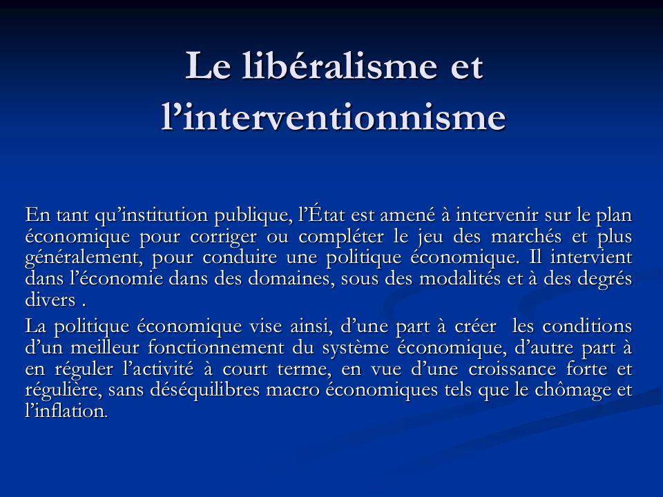 Le libéralisme et l'interventionnisme
