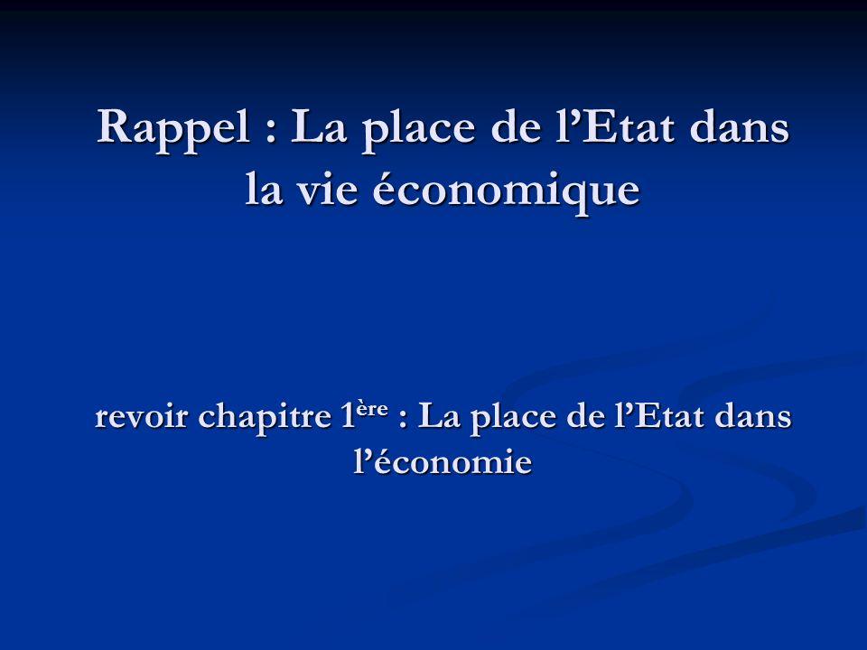 Rappel : La place de l'Etat dans la vie économique revoir chapitre 1ère : La place de l'Etat dans l'économie